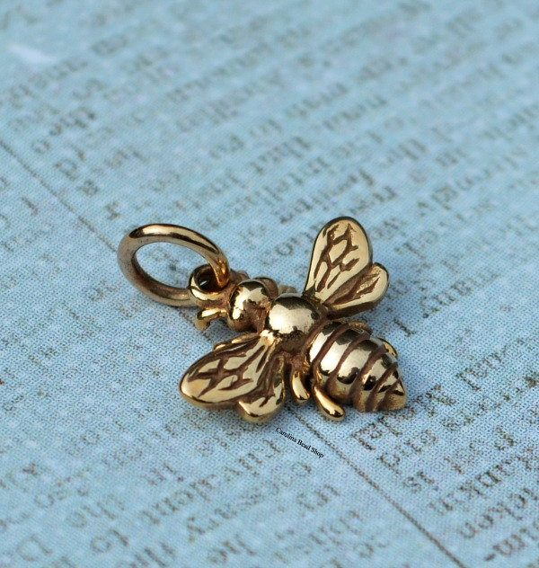Small Natural Bronze Honeybee Charm - Insect Charms, CV699
