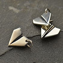 Paper Airplane Sterling Silver Charm - C1281,  Oragami Charm