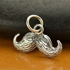 Sterling Silver Mustache Charm - C1197, Classic, Whimsical, Fun Charms