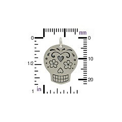 Large Mexican Sugar Skull Charm - C1119, Select Your Favorite Style, Skulls and Bones, Day of the Dead