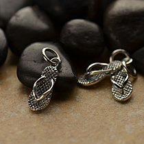 Flip Flop Charm - C995, Sterling Silver , Wholesale Price, Summer, Spring, Barefoot, 3 Dimensional Shoe