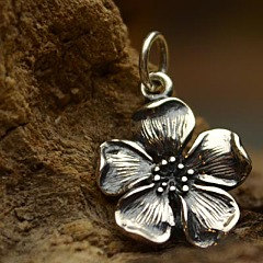 Sterling Silver Large Cherry Blossom Charm - Flowers, Woodlands,