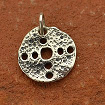 Sterling Silver Ancient Coin with Cutout Holes Charm - C1251, Links, Dangles, Connectors