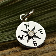 Sterling Silver Compass Charm with 1-pt. Diamond - Navy, Nautical, Wind, Charts, Maps