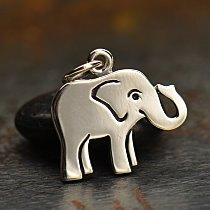 Sterling Silver Flat Plate Baby Elephant Charm  - Animal Charms, Strength, Good Luck