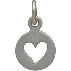 Tiny Sterling Silver Disk with Heart Cutout - C1366, Love, Romance, Heart, Open Heart