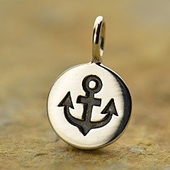 Sterling Silver Anchor Disc Charm - C1371, Nautical, Ocean, Beach, Sea life, Faith, Spiritual