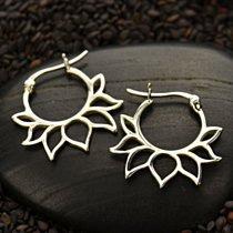 Sterling Silver Hoop Earrings with Lotus Petal Design - Earring Findings, Hoop Earrings, Flowers, CT652
