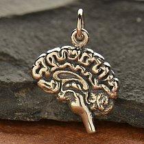 Sterling Silver Brain Charm - Medicine, Human Body, Medical Student