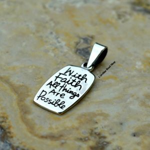 With Faith All Things Are Possible Pendant - Stamped Charm, Pendant, Words