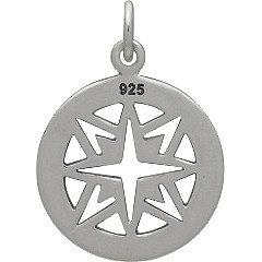Sterling Silver Compass Pendant -  C1450, Nautical, Wind, Charts, Maps