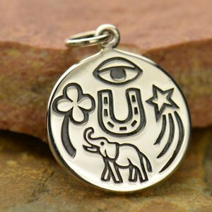 Lucky Amulet Charm Sterling Silver - C1452, Good Luck Amulet, Good Fortune, Shooting Star,