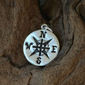 Large Compass Charm Sterling Silver  - C7429,  Nautical & Sealife Charms, Wind, Charts, Maps