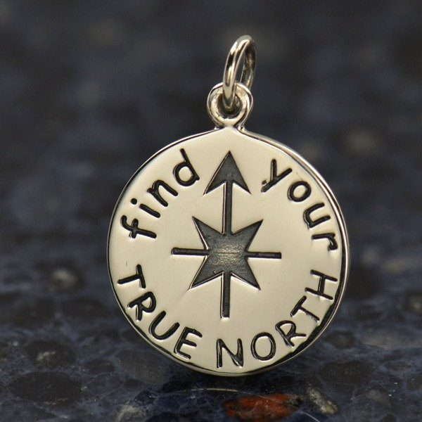 Find Your True North Charm -  C1458, SALE, Protection, Nautical, Luck, Charts, Maps, Guidance