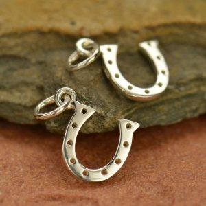 Silver Plated Bronze Lucky Horseshoe Charm - CV582, Good Luck Charms, Discontinued Item Sale