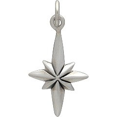 Sterling Silver North Star Charm - A1255, Celestial Charms, Polaris