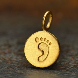 24K Gold Plated Footprint Charm - CG698, CLOSEOUT SALE, Stamped Charms, Newborn, Baby, Children