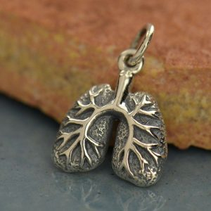 Sterling Silver Lungs Charm - Lifelike Lungs, Human Organ, Nurse - Doctor Charms, Awareness, Respiratory Therapy