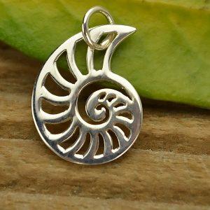 Sterling Silver Openwork Nautilus Charm - Sealife, Ocean, Beach, Sea Shell