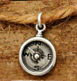 Oxidized Sterling Silver Compass Charm - Navy, Nautical, Maps, Charts, Wind, Spinning Needle