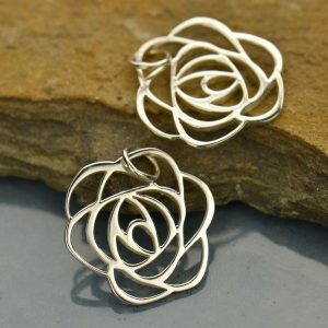 Small Sterling Silver Art Deco Rose Charm - Woodlands, Flowers, Openwork Pendant, C556