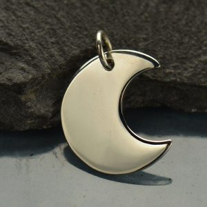 Crescent Moon Charm Sterling Silver  - C838, Celestial Charms, Stamping, Blank Charms