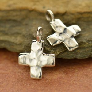 Tiny Hammered Finish Sterling Silver Cross Charm - Spiritual, Christ, C2534