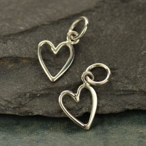 Sterling Silver Open Heart Charm - C2769, Tiny Heart Charms, Love, Romance