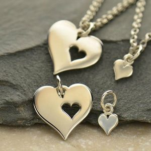 Mother Daughter Heart & Heart Cutout Set, C1398, Sterling Silver, Stamping Charm, New Mom