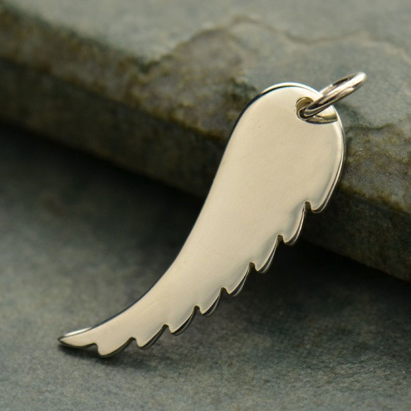 Blank Wing Charm - C840, Blank Wings, Sterling Silver, Stamping Charms