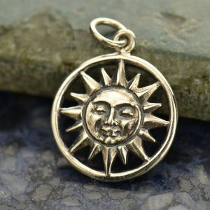 Smiling Sun Sterling Silver Charm - C1476, Celestial Charms