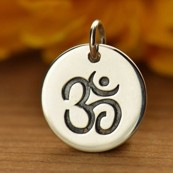 Sterling Silver Disc with Ohm Symbol, C725, Stamped Charms, Yoga Spirit Charms
