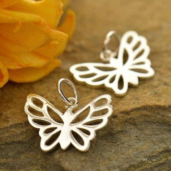 Butterfly Charm Small Sterling Silver  - Insects, C692