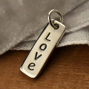 Vertical Love Word Tag, C1493, Sterling Silver, Stamped Charm, Best Seller