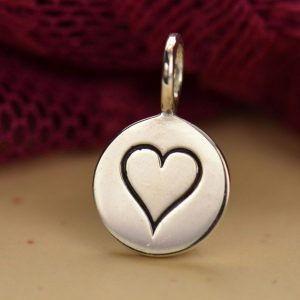 Sterling Silver Heart Charm - C644, Love, Romance, Kindness, Stamped Charms