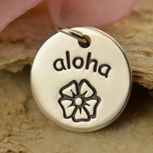 Sterling Silver Aloha Disc Charm, C1489, Hawaii, Flowers, Beach, Greetings
