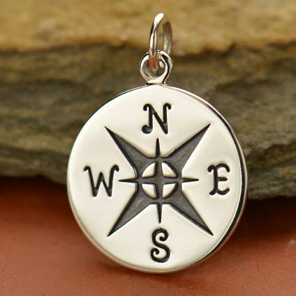 Compass Pendants -  C1491, Choose From Sterling Silver & Natural Bronze, Navy, Nautical, Wind, Charts, Maps