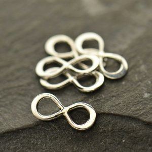 Teeny Tiny Sterling Silver Infinity Link - Figure Eight Charm, Connector Charm, C2971