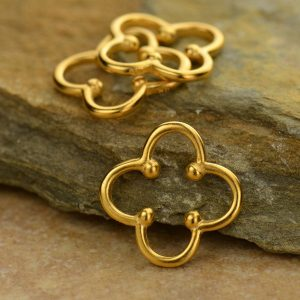 24K Gold Plated Clover Link with Dots - C1046, Good Luck Charms, Links