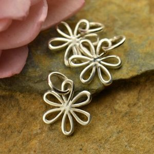 Medium Sterling Silver Daisy Charm with Open Petals - C1083, Flowers