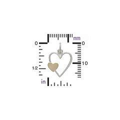 Open Heart with Bronze Heart Charm  -  C2972, Sterling Silver, Open Heart