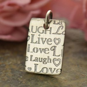 Sterling Silver Pendant with Live, Laugh, Love - Word Charm, Stamped Charms, CS2450