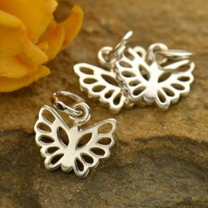 Tiny Sterling Silver Butterfly Charm - c954, Insects, Wings, Wholesale Price