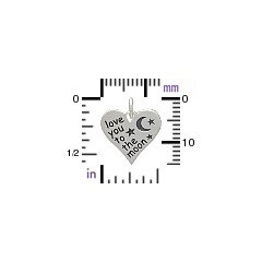 Sterling Silver Love You to the Moon Heart Charm - C1511, Stamped Charms, Children, Quote Charms, New Mom, Celestial Charms