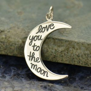 Love You to the Moon Pendant Sterling Silver - C1522, Stamped Charms, Children, Quote Charms, New Mom, Celestial Charms, C1522