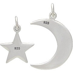 Sterling Silver Love You to the Moon and Back Star and Moon Set - Stamped Charms, Children, Quote Charms, New Mom, Celestial Charms, C1524