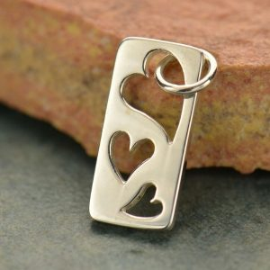 Tag with Three Heart cut-outs Sterling Silver  - C494, Triple Hearts