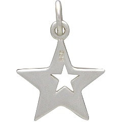 Sterling Silver Star with Star Cutout Charm - Celestial Charms, C1523