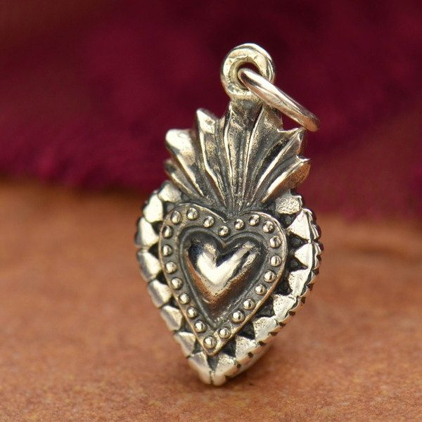 Sterling Silver Sacred Heart Charm - C1076