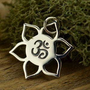Sterling Silver Lotus with Ohm Center - Zen, Flower, Meditation, Spiritual, C1194